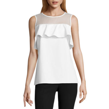 Worthington Sleeveless Illusion Neck Ruffle Blouse