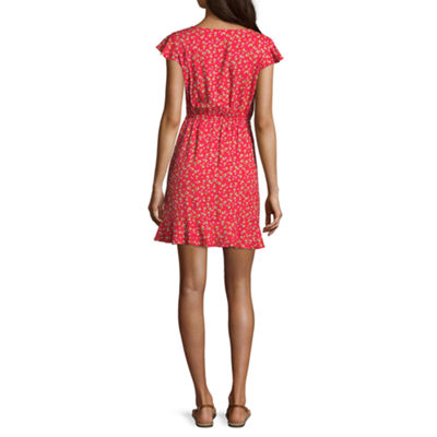 Arizona Short Sleeve Gingham Wrap Dress-Juniors