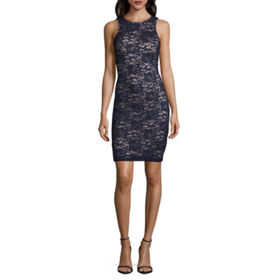 My Michelle Sleeveless Floral Bodycon Dress-Juniors