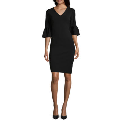 Weslee Rose 3/4 Sleeve Crepe Dress by Weslee Rose