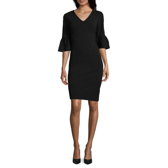 Weslee Rose 3/4 Sleeve Crepe Sheath Dress