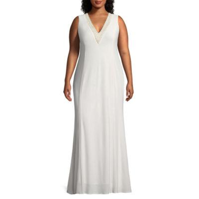 Blu Sage Sleeveless Embellished V-Neck Evening Gown - Plus