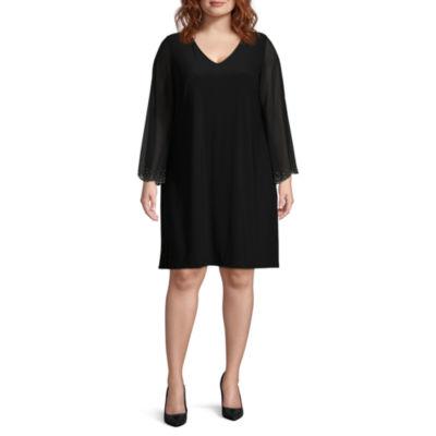 MSK Long Sleeve Beaded Party Dress - Plus
