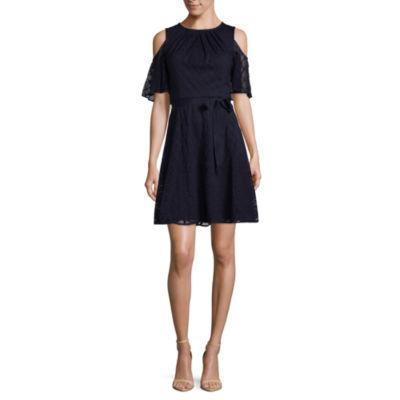 Danny & Nicole Short Sleeve Diamond A-Line Dress-Petite
