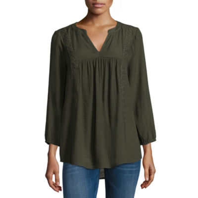St. John's Bay Lace Inset 3/4 Sleeve Blouse- Tall