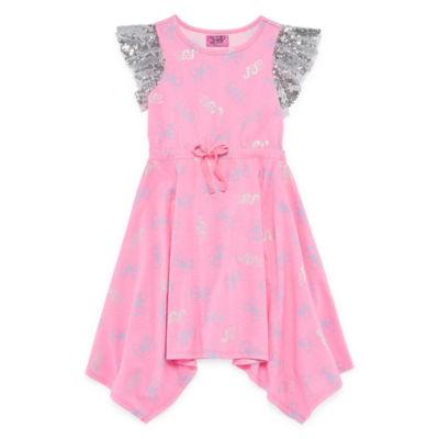 Jojo Short Sleeve Flutter Sleeve Bows A-Line Dress Girls