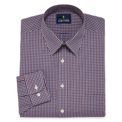 Stafford Travel Performance  Super Shirt Mens Point Collar Long Sleeve Wrinkle Free Dress Shirt