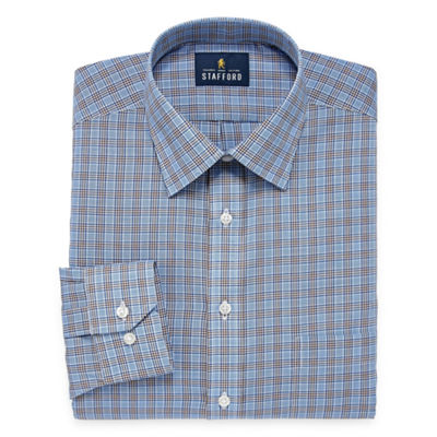 Stafford Travel Easy Care Long Sleeve Broadcloth Pattern Dress Shirt- Big And Tall