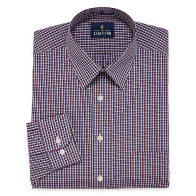 Stafford Travel Performance  Super Shirt Big And Tall Long Sleeve Broadcloth Checked Dress Shirt