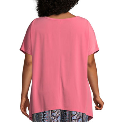 Liz Claiborne Sharkbite Hem Top- Plus