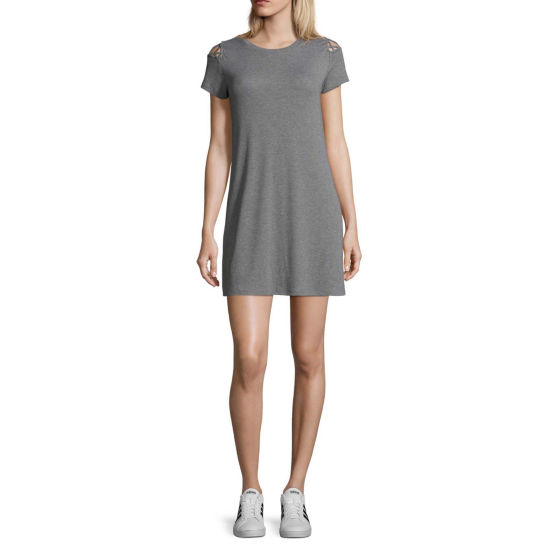 Arizona Short Sleeve A-Line Dress-Juniors