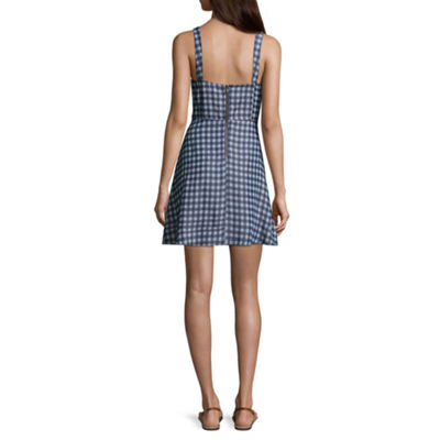 Speechless Sleeveless Gingham A-Line Dress-Juniors