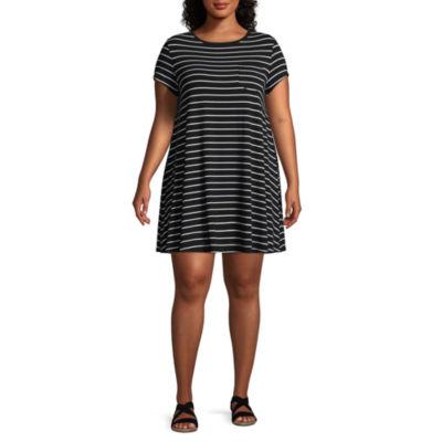 Arizona Short Sleeve Stripe A-Line Dress-Juniors Plus