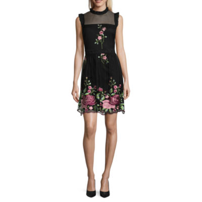 Luxology Sleeveless Embroidered Floral Dress