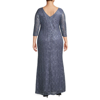 Blu Sage 3/4 Sleeve Sequin Lace Evening Gown - Plus