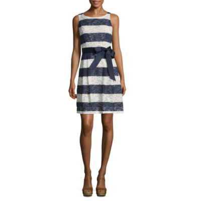 Robbie Bee Sleeveless Stripe A-Line Dress-Petite