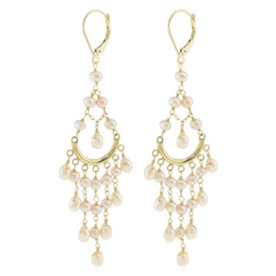 Genuine Pink Cultured Freshwater Pearl 14K Gold Chandelier Earrings