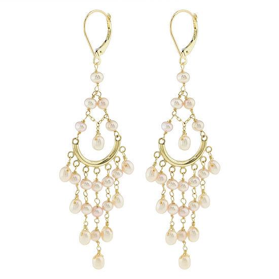 Genuine Pink Cultured Freshwater Pearl 14K Gold Chandelier Earrings