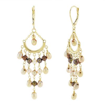 Genuine Champagne Cultured Freshwater Pearl 14K Gold Chandelier Earrings