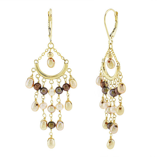 Genuine Champagne Cultured Freshwater Pearl 14K Gold Chandelier Earrings