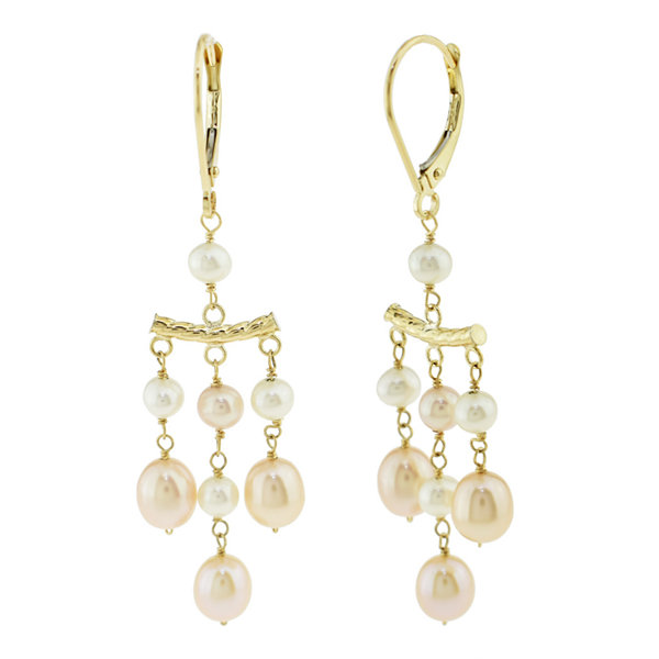 pink pearl 14k gold chandelier earrings jcpenney