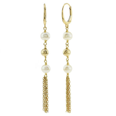 Genuine White Cultured Freshwater Pearl 14K Gold Drop Earrings