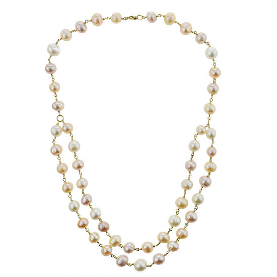 Womens Genuine Pink Cultured Freshwater Pearl 14K Gold Beaded Necklace