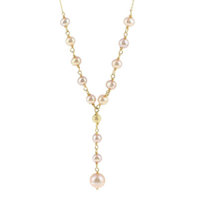 Womens Genuine Pink Cultured Freshwater Pearl 14K Gold Y Necklace