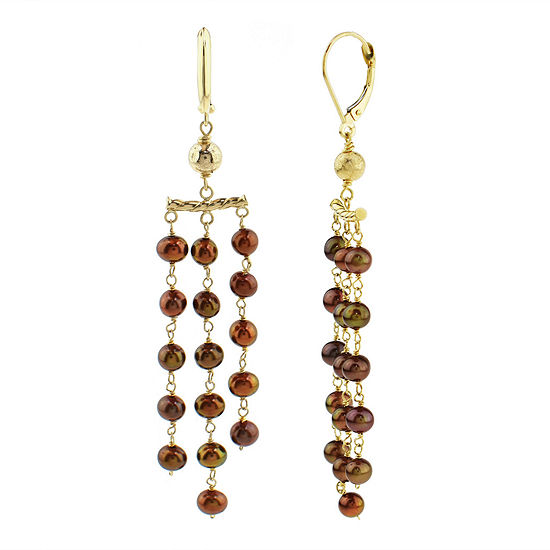 Genuine Brown Cultured Freshwater Pearl 14K Gold Chandelier Earrings