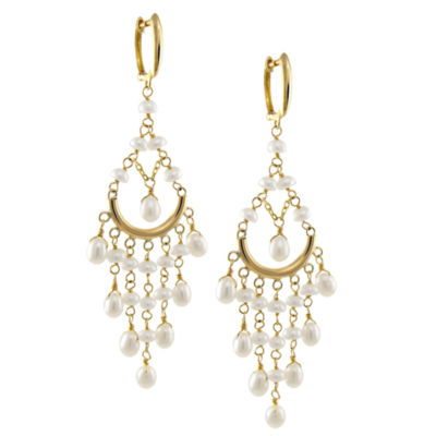 Genuine White Cultured Freshwater Pearl 14K Gold Chandelier Earrings