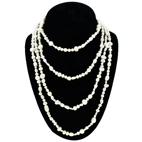 Womens White Pearl Strand Necklace