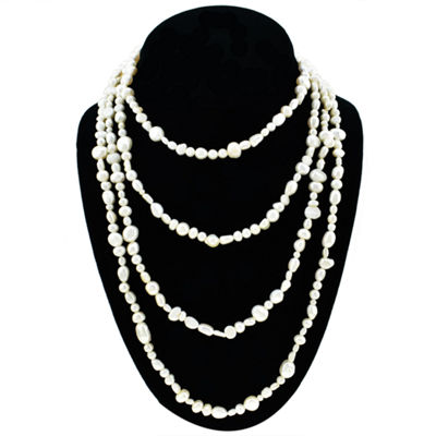 Womens 5-7MM Genuine White Cultured Freshwater Pearl Sterling Silver Strand Necklace
