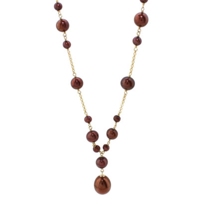 Womens Genuine Brown Cultured Freshwater Pearl 14K Gold Y Necklace