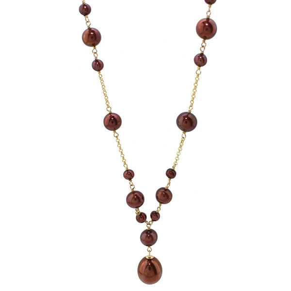 Womens Brown Pearl 14K Y Necklace