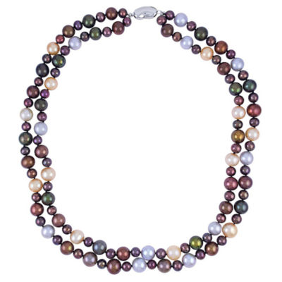 Womens 5-7MM Genuine Multi Color Cultured Freshwater Pearls Strand Necklace