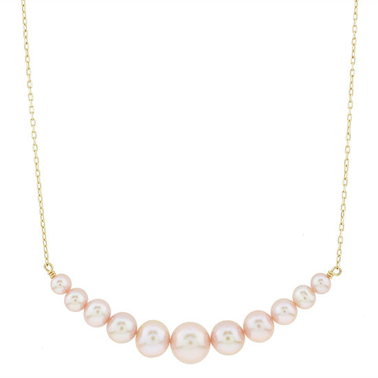 Womens Genuine Pink Cultured Freshwater Pearl 14K Gold Pendant Necklace