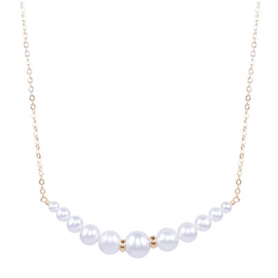 Womens Genuine Gray Cultured Freshwater Pearls 14K Gold Pendant Necklace