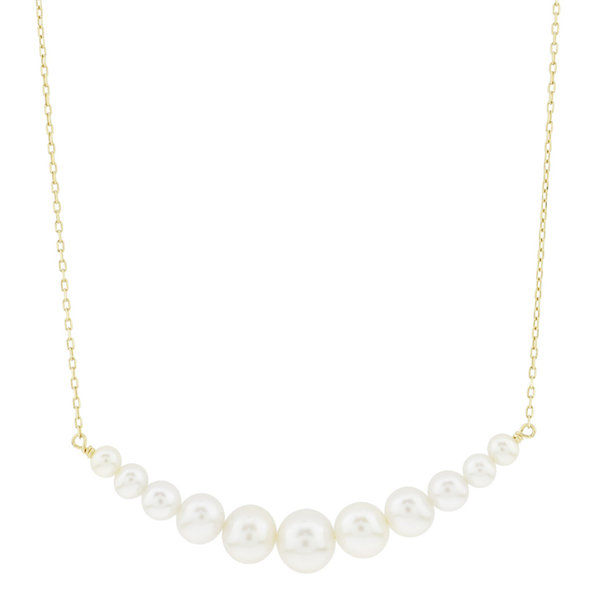 Womens White Pearl 14K Gold Pendant Necklace