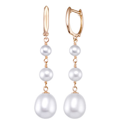 Genuine White CULTURED FRESHWATER PEARLS 14K Gold Drop Earrings