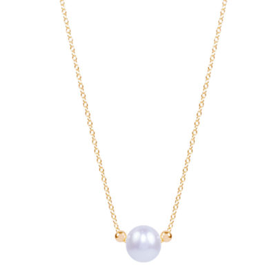 Womens White 14K Gold Pendant Necklace