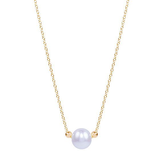 Womens Genuine White Cultured Freshwater Pearl 14K Gold Pendant Necklace