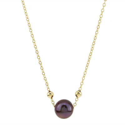Womens Brown Pearl 14K Gold Pendant Necklace