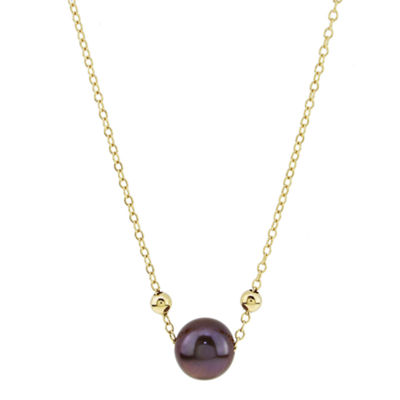 Womens Genuine Brown Cultured Freshwater Pearl 14K Gold Pendant Necklace
