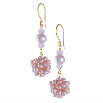 Genuine Pink CULTURED FRESHWATER PEARLS 14K Gold Drop Earrings