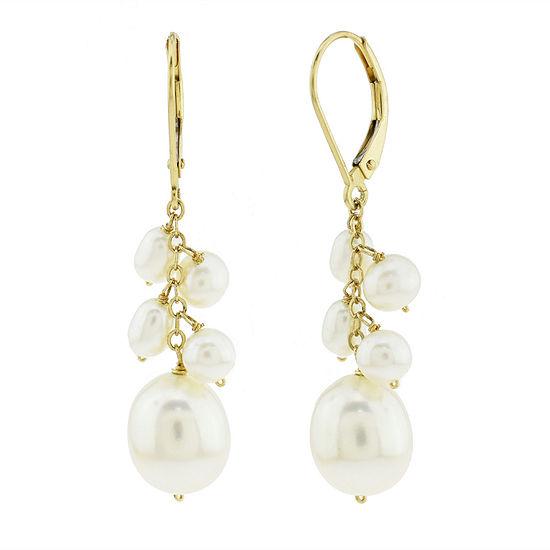 Genuine White Cultured Freshwater Pearl 14K Gold Drop Earrings