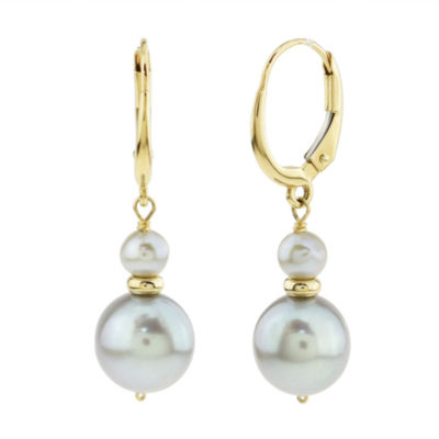 Genuine Gray Cultured Freshwater Pearl 14K Gold Drop Earrings