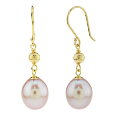 Genuine Pink Cultured Freshwater Pearl 14K Gold Drop Earrings