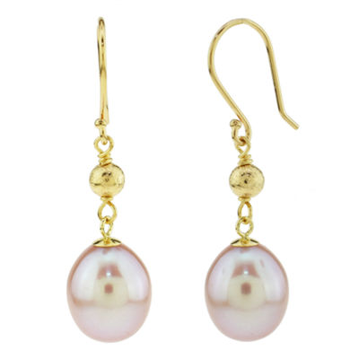 Genuine Pink Pearl 14K Gold Drop Earrings