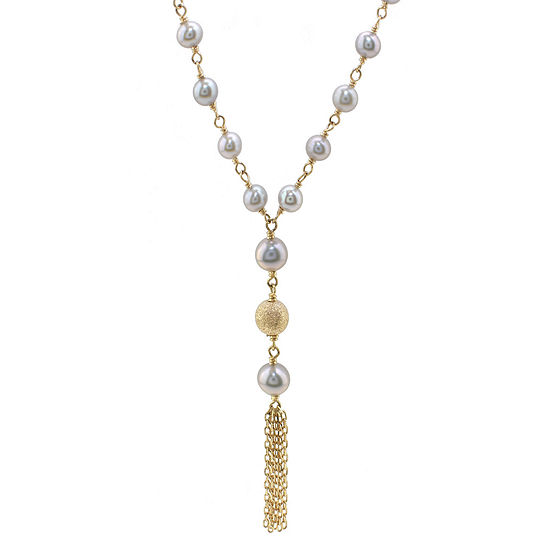 Womens Genuine Gray Cultured Freshwater Pearl 14K Gold Y Necklace