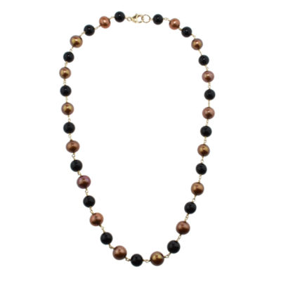 Multi Color Pearl 14K Gold Beaded Necklace